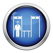 Stadium metal detector frame with inspecting fan icon - stock illustration