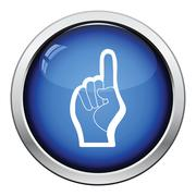 Fan foam hand with number one gesture icon Stock Illustration