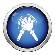 Football fans clap hand toy icon - stock illustration