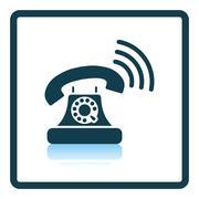 Old telephone icon - stock illustration