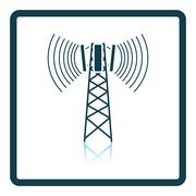 Cellular broadcasting antenna icon Stock Illustration