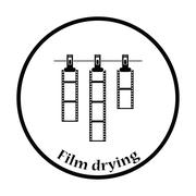 Icon of photo film drying on rope with clothespin Stock Illustration