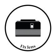 Icon of photo camera 50 mm lens Stock Illustration