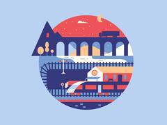 Illustration of the railway Stock Illustration