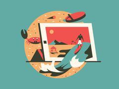 Freelance concept flat style Stock Illustration