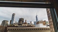 Downtown push through window Stock Footage