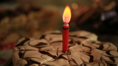 Candle on the cake Stock Footage