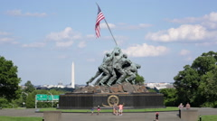 The Marine Corps War Memorial with a view of Washington DC - stock footage