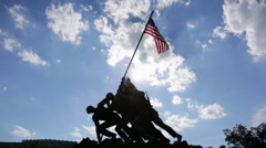 The Marine Corps War Memorial at sunset - stock footage