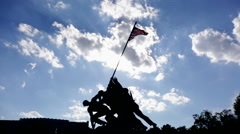 The Marine Corps War Memorial at sunset, wide angle - stock footage