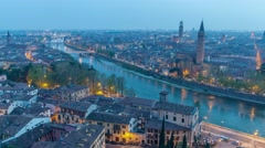 From day to night aerial time lapse 4k video in Verona Stock Footage