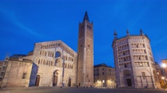 Day to night timelapse on Piazza Duomo, Parma Stock Footage