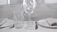 Pan View of Luxury Restaurant Table Setting. Beautiful Wedding Table Stock Footage