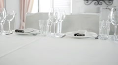 Beautiful Clip of Serving Banquet in White Colors. Beautiful Wedding Table - stock footage