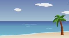 Tranquil beach scene animated - stock footage