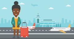 Woman suffering from fear of flying Stock Illustration