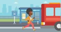 Latecomer woman running for the bus - stock illustration