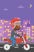 Man riding motorcycle vector illustration Stock Illustration