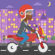 Woman riding motorcycle vector illustration - stock illustration