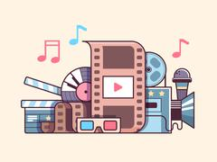 Cinema cocncept flat - stock illustration