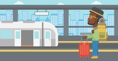 Man at the train station vector illustration Piirros