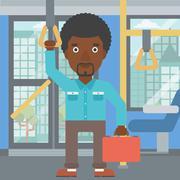 Man traveling by public transport - stock illustration