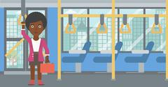 Woman traveling by public transport - stock illustration