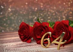 Birthday concept with red roses on wooden desk. sixty-fourth . 64th. 3D render Stock Illustration