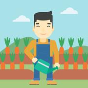 Farmer with watering can vector illustration - stock illustration