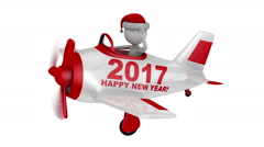 Santa  in  plane  Happy New Year 2017 alpha matte Stock Footage