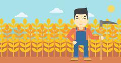 Farmer with scythe vector illustration Stock Illustration