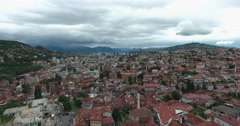 Aerial footage of Sarajevo on a cloudy day Stock Footage