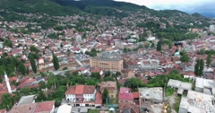Aerial footage of Sarajevo and it´s national library and the old town - stock footage