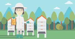 Female bee-keeper at apiary vector illustration - stock illustration