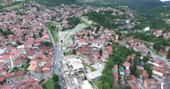 Aerial footage of Sarajevo´s old town and the martyr´s cemetery Stock Footage