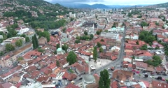 Aerial footage of Sarajevo´s old town Stock Footage