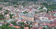Aerial footage of Sarajevo´s national library and the old town Stock Footage