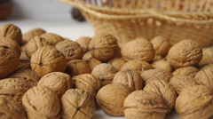 Walnuts On The White Table  Panorama Stock Footage