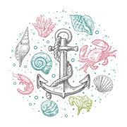 Set sea shell, coral, crab, shrimp and anchor. Stock Illustration