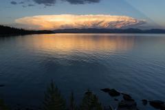Storm Clouds Brew Over Yellowstone Lake Absaroka Mountains Stock Photos