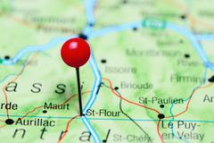 St-Flour pinned on a map of France Stock Photos