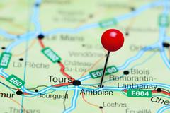 Amboise pinned on a map of France - stock photo