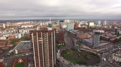 Aerial Birmingham with Fiveways and broadstreet in distance. Stock Footage