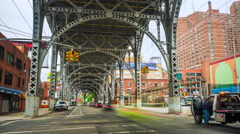 Timelapse of Traffic Under the Riverside Drive Viaduct, New York City, USA Stock Footage