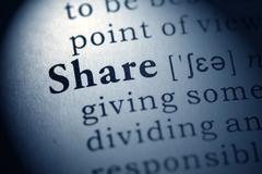 Dictionary word share Stock Photos