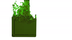 Green liquid fills up a rectangular container Stock Footage