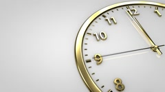 Clock minute, second and hour hands moving. Animated Clock in motion. Stock Footage