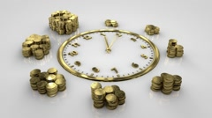 Time is money. Clock Time Lapse. Gold watches make a complete circle. Stock Footage