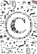 Copyright icone with auto parts for car - stock photo