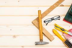 Carpenter tools, diy concept table Stock Photos